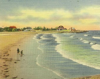 COHASSET Massachusetts Sandy Beach Summer Fun Vintage Linen Postcard 1945