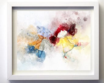 ABNEY and TEAL Watercolour - Twirlywoos Childrens bedroom illustraion art - Print-at-Home, easy fast and unique gift idea