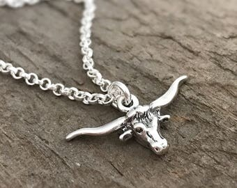 Longhorn Skull Necklace, Sterling Silver Longhorn Necklace, Longhorns Pendant, Texas Jewelry, Bohemian Necklace, Bohemian Jewelry