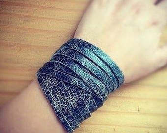 CLEARANCE, Black Leather Cuff Bracelet, Double Wrap Bracelet, Hipster Bracelet, Sliced Leather, Bohemian Bracelet, Bohemian Jewelry