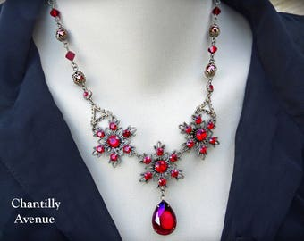 Ruby Victorian Necklace, Red Jewel Necklace, Gothic Ruby Necklace, Victorian Jewelry