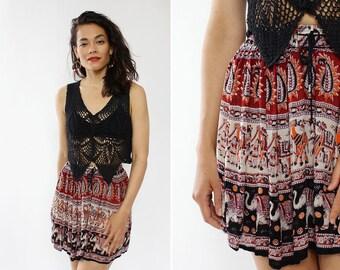 Cotton Gauze Skirt XS/S • 90s Mini Skirt • Vintage Mini Skirt • Cotton Skirt • Elephant Print Mini Skirt • Boho Skirt | SK639