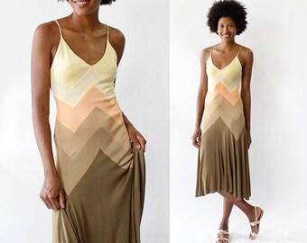 Stephen Burrows Dress XS • 70s Disco Dress • Spaghetti Strap Dress • Ombre Dress • Vintage Chevron Dress • Silk Jersey Dress  | D1420