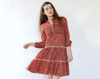 70s Peasant Dress XS • Vintage Floral Dress • 70s Babydoll Dress • Vintage Peasant Dress • Red Floral Dress • Tiered Dress | D1712