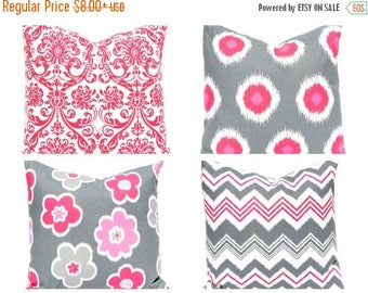 20% Off Sale Throw Pillow Covers - Decorative Pillow - Pink Pillow Covers - Gray Pillow Covers - Polka Dot Pillow - Chevron Pillow Cover - P