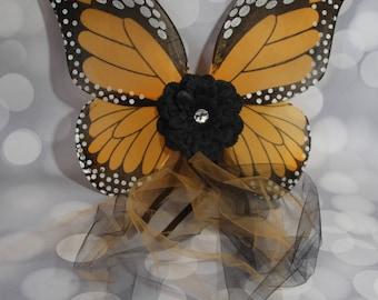 Orange Monarch Butterfly Wings, Girls Fairy Wings, Girl Butterfly Wings, Children's Pixie Wings, Monarch Play Wings, Dress Up Wings, FW1746