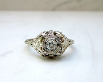 Antique Art Deco Diamond Filigree Solitaire Engagement Ring in 14k Solid White Gold, Size 5.5