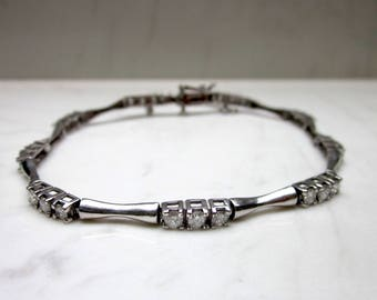 Estate Over 2.5 Carat DIamond 14k Solid White Gold Link Bracelet 8 Inches Long with Safety Chain