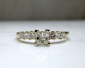 Vintage 1.05 Total Carat Weight Diamond Princess Cut 14k Solid Yellow Gold Engagement Ring, Size 9