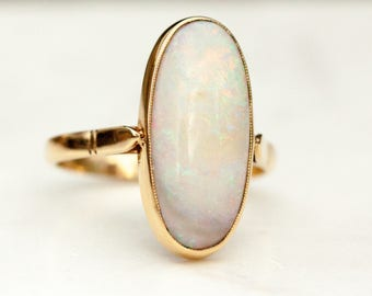 HUGE 1930s Vintage Opal and 14k Solid Yellow Gold, Size 10.5