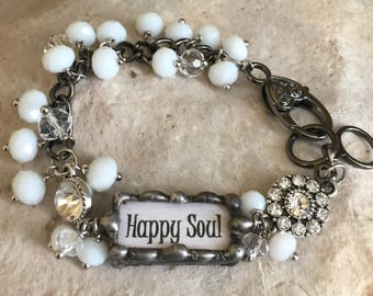 Happy soul-beaded bracelet-hand made-word charms-word bar bracelet-rhinestone bracelet