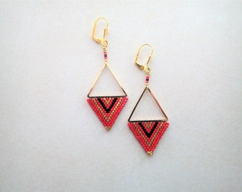 Brick Stitch Earring with Triangle Finding