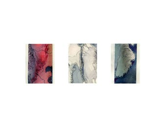 Blue and red abstract watercolor print, small wall art, Boreal Triptych