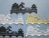 Pagoda Scene Paper Die Cut 5 pieceswith Oriental Bridge and Tree