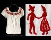 50s Novelty Peasant Blouse - Size 10 to 12 1950s Fiesta Rockabilly Top - White Cotton & Red Folk Dancers Embroidery - NOS - Bust 38 - 50115