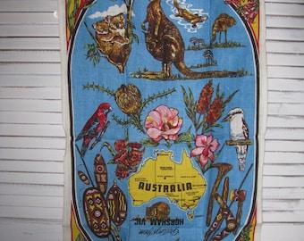 tea towel pure linen huge  30 3/4 in.  greetings from Horsham Vic Australia never used