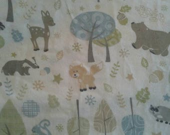 Cute Woodland Print Cotton Flannel Fabric 4 7/8 Yards  Bear, Fox, Deer, Raccoon