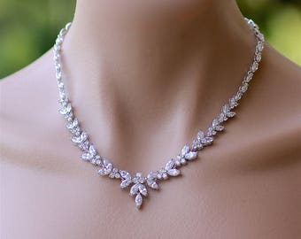Crystal Necklace, Crystal Bridal Necklace, White Gold Crystal Necklace, Crystal Wedding Necklace,DENISE