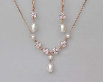 Rose Gold Bridal Set, Rose Gold Jewelry set, Rose Gold Pearl Bridal Set, Rose Gold Earrings & Necklace SET, HAYLEY RGP