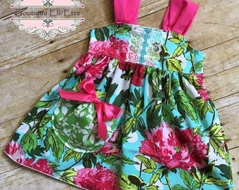Ready to Ship 12M Girls Reverse Knot Dress with Pocket Tropical Floral Collection by Boutique Elli'Ette