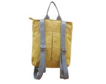 Canvas backpack, Laptop Backpack, yellow Backpack purse, travel backpack, vegan leather backpack, womens backpack, back to school