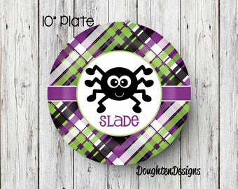 Personalized Melamine Plate, Halloween plate, Boy spider plate, Personalized Halloween plate, Personalized, Kids Plate, Melamine Plate