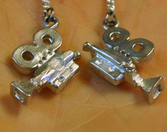 Old Fashion 35 mm Movie Camera Hand Carved Pewter Earrings