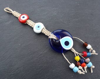 Fun Multicolor Turkish Evil Eye Wall Hanging Home Garden Decoration with Blue Evileye Traditional Artisan Beads - No:9