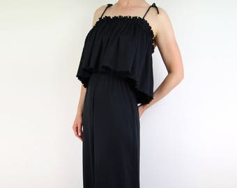 VINTAGE 1970s Black Maxi Dress Ruffle Pleat