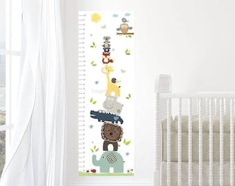 Canvas Growth Chart, Nursery Decor, Kid Growth Chart, Height Chart, Safari animal art, Baby Room, Nursery Art Decor, Fox, Lion, Monkey decor