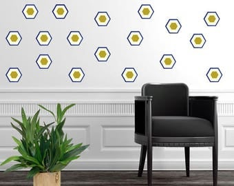 Hexagon Decal, Art-Deco, Nursery Wall Decals, Nursery Wall Decal Kids Wall Decal, Modern Nursery Wall Decal, Home Decor, Navy and Gold decor
