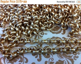 SALE Vintage Style Chunky chain 6mm ROLO matte gold plating  1 foot
