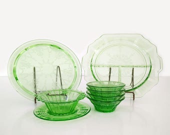 Antique Depression Glass Collection / Green Depression Glass / Instant Collection