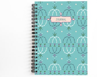 "Blank Journal 5x7 Inches with 80 Unlined Sheets, Cute Spiral Notebook for Writing, Art by Christina Steward, ""Blue Maker's Mark"" Journal"