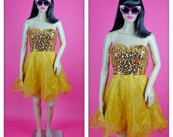 Vintage 1980s Gold Sweetheart Sequin Strapless Mini Dress