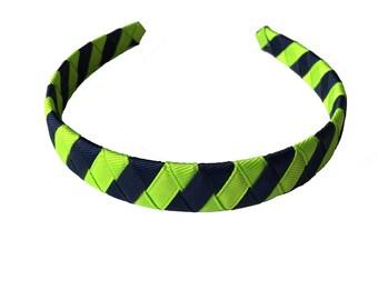 Bright Green and Navy Striped Headband - Lypple and Dark Blue Woven Headband