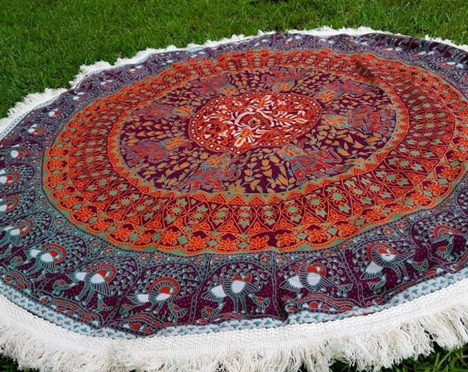 The Heart of Me Mandala Roundie with White Fringe Mandala Tapestry Beach Blanket Yoga Mat Meditation Mat Dorm Decor Hippie Tapestry