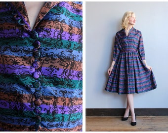 1950s Dress // Abstract Stripe Dress // vintage 50s dress