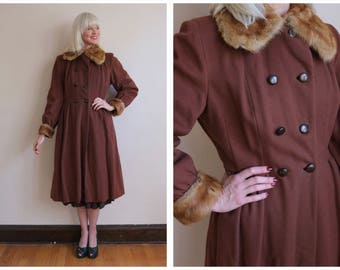 1940s Coat // Amber Wool Princess Coat // vintage 40s coat