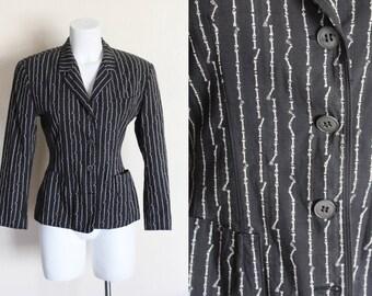 Vintage 1980s Gaultier Bones Pin Stripe Blazer / Vintage Gaultier Blazer / 1980s Gaultier Jacket / Gaultier Blazer / Size Small