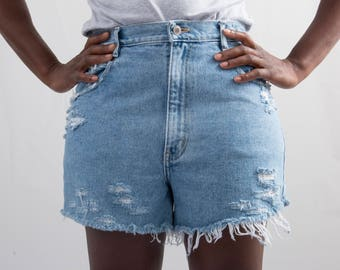 Reworked Denim Cutoff Shorts * Distressed Ripped Frayed Hem Shorts * Hi – Rise Medium Wash * Size 10 / Medium / Waist 29.5 * FREE SHIPPING