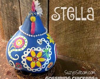 chicken, hen, rooster, bird, gourd, gourd art, painted gourd, housewarming gift, birthday gift for a chicken lover