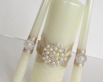 Gold Wedding Unity Candles Set, Lace Wedding Candles, Personalized Wedding Candles, Bling Candles, Ivory Unity Candles, Wedding Gift, Custom