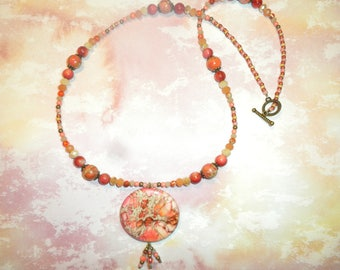 Peachblow Orange Sea Sediment Jasper Necklace