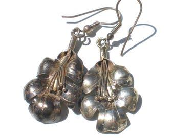 Sterling Silver Flower Earrings Drop Dangle Style - Vintage Jewelry