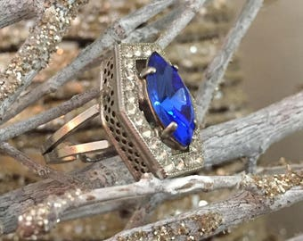 Blue & Silver Rhinestone Ring Art Deco Revival Adjustable Size 6 7 or 8 Made in West Germany - Vintage Jewelry
