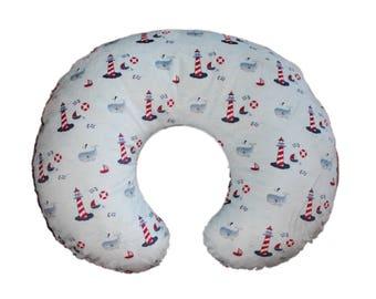 Boppy cover, nursing pillow cover, minky boppy cover, boy boppy cover, Nautical minky boppy cover, slipcover for boppy