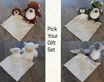 stuffed animal, Personalized Stuffed animal gift set, 1-2 day ship, personalized, both items are included and personalized