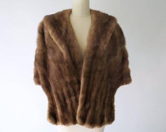 1940s 1950s Brown Mink Stole / Vintage Fur Wrap