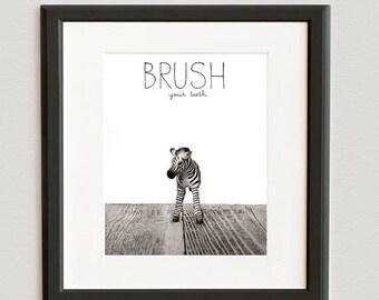 FLASH SALE til MIDNIGHT Baby Zebra Brush Your Teeth, Photo Print, Safari Animals, Kids Bathroom art, Wall Art Prints, - Children Room, Bathr